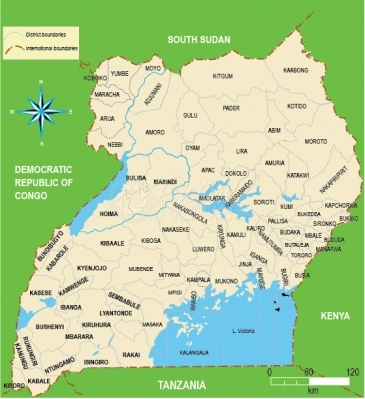 Map Of Uganda Showing Districts Politics Picture Native Africa - Uganda map
