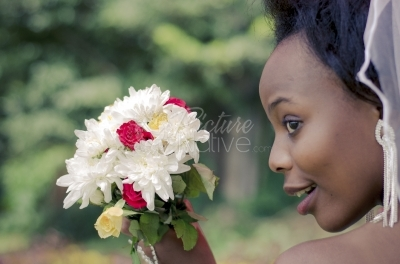 A bride with a bouquet of flowers