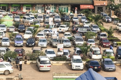 A crowded parking lot