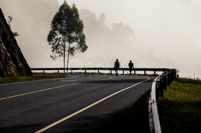 A foggy morning in the hilly Kabale-Kisoro area in Uganda
