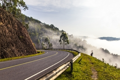 A foggy morning on the hilly Kabale-Kisoro road in Uganda