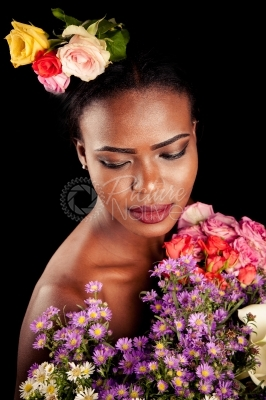 A model covered in flowers