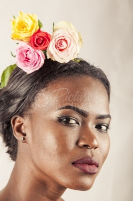 A model with a flower in her hair