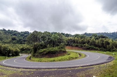 A sharp turn on the Kisoro-Kabale road in the Echuya Forest Reserve