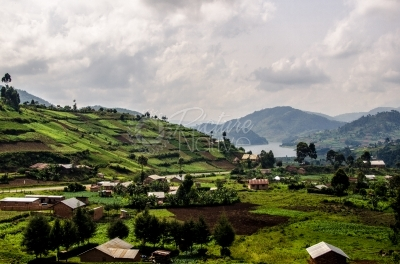 A terraced landscape with a lake in Kigezi, Uganda