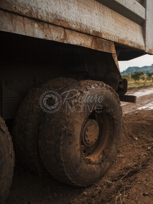 A tyre of a tipper truck.
