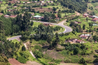 A winding road in the hilly Kabale District of Uganda