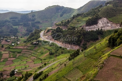 A winding road in the hilly Kisoro District of Uganda