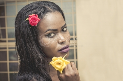 A woman model with flower accessories
