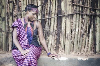 A woman wearing African traditional attire