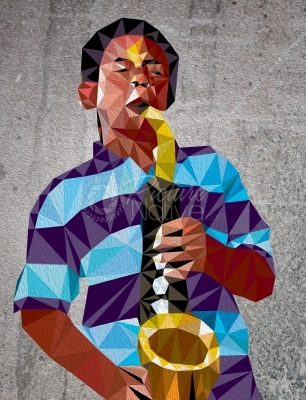 An illustration of a man playing a music instrument