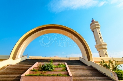 Arch and minaret of a mosque