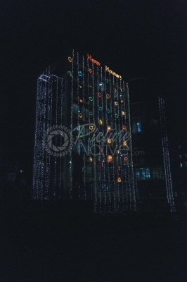Building decorated with lights during festive season