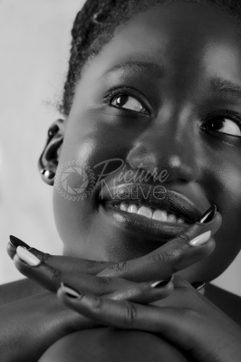 Close-up portrait of beautiful model smiling