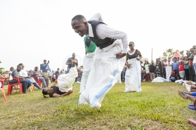 Competition in sack racing at a cultural gala