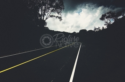 Dark curved road