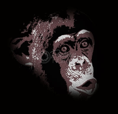 Digital Illustration of a Chimpanzee Whistling