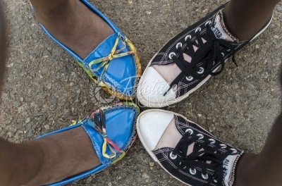 Friends in colorful shoes
