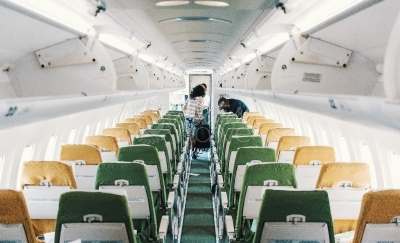 Inside of a passenger plane.
