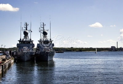 Military ships at harbor