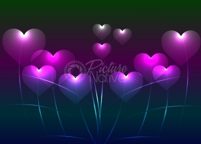 Neon hearts background
