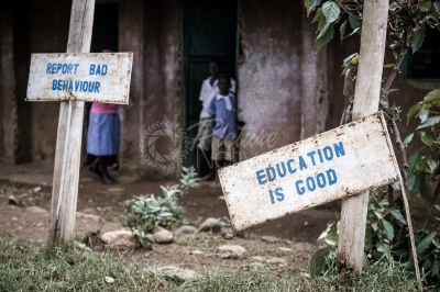 Sign posts in the compound of a rural school
