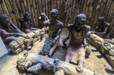 Statue of the Uganda Martyrs depicted in a makeshift prison awaiting execution