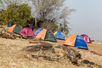 Tents elected outdoors