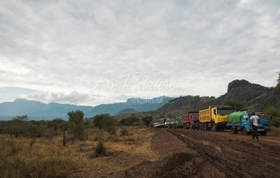 Trucks on a rural road
