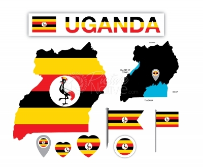 Uganda Map and Flag