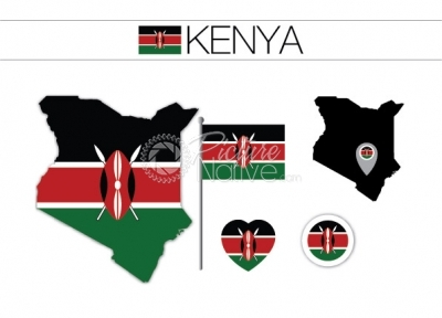Kenya Flag and Map