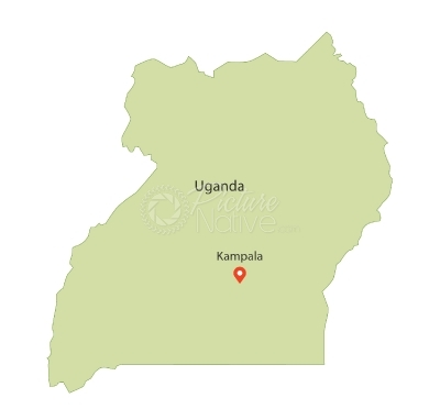 Map of Uganda showing location of Kampala