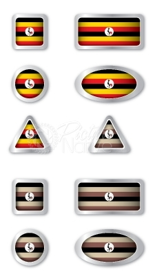 Uganda Flag vector web buttons