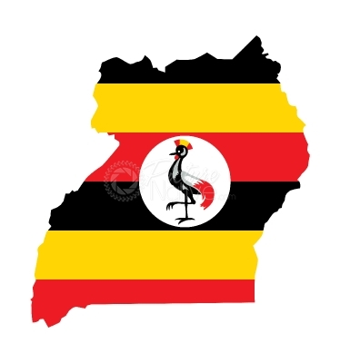 Uganda map with flag vector