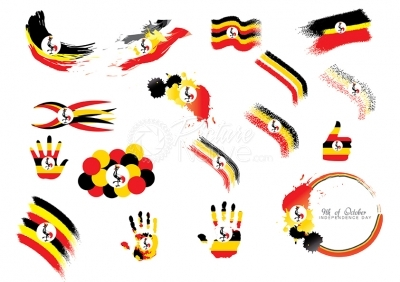 Vector icons of the Uganda flag and colours