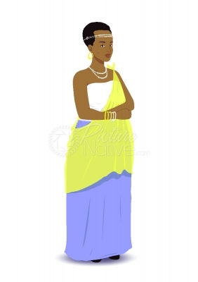 Vector illustration of a Rwandan woman in traditional attire