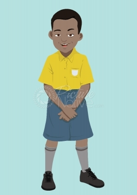 Vector illustration of a school boy in uniform
