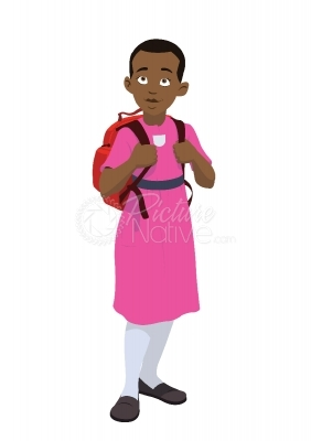 Vector Illustration of a school girl in uniform