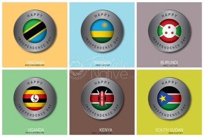 Vector pack of East Africa states independence day icons